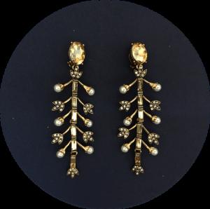 Pendientes de novia de oro viejo de Prune The Flowers