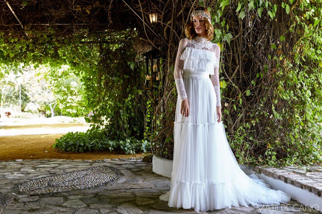 Vestido de novia con plumeti