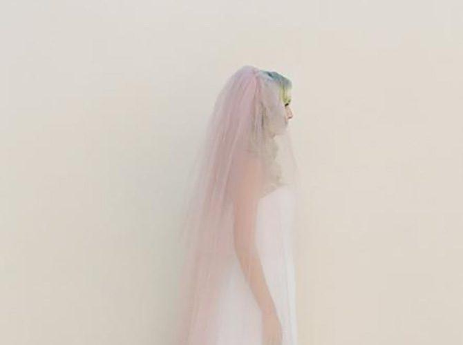 Velo rosa de novia