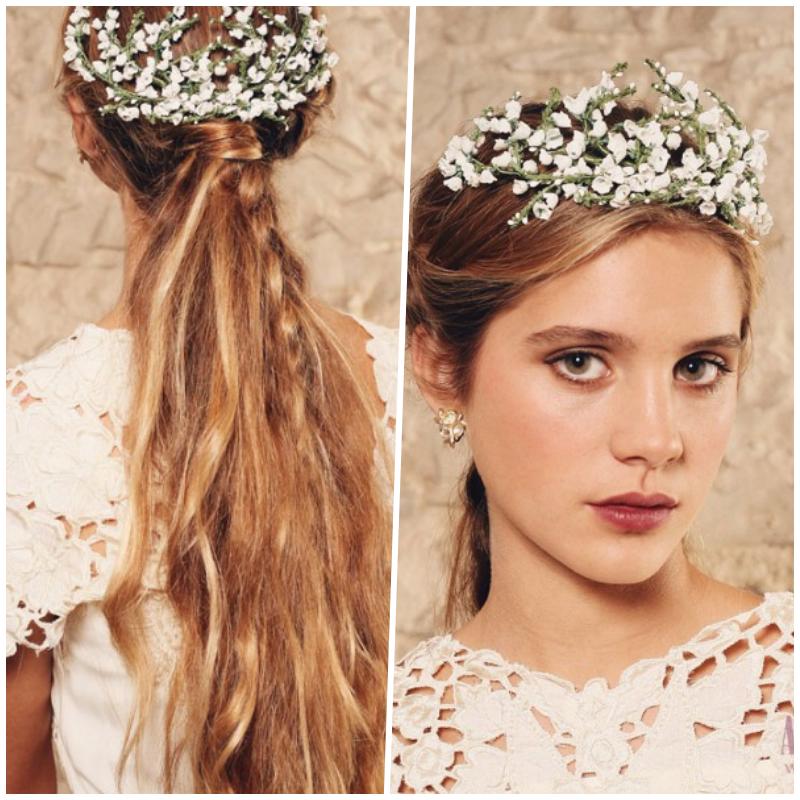 Tocado de novia Ani Bürech con flores blancas