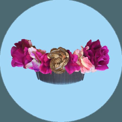 Tocado de novia Prune The Flowers fucsia y dorado