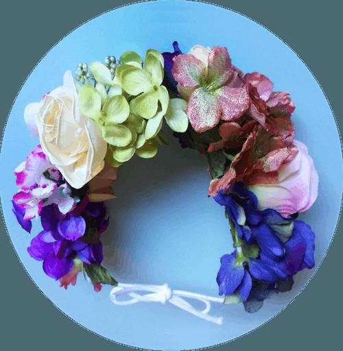 Tocado de novia Prune The Flowers tonos azules y magenta