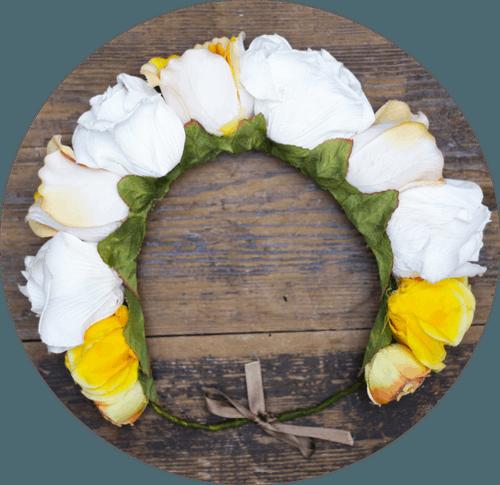 Tocado de novia Prune The Flowers rosas blancas y amarillas