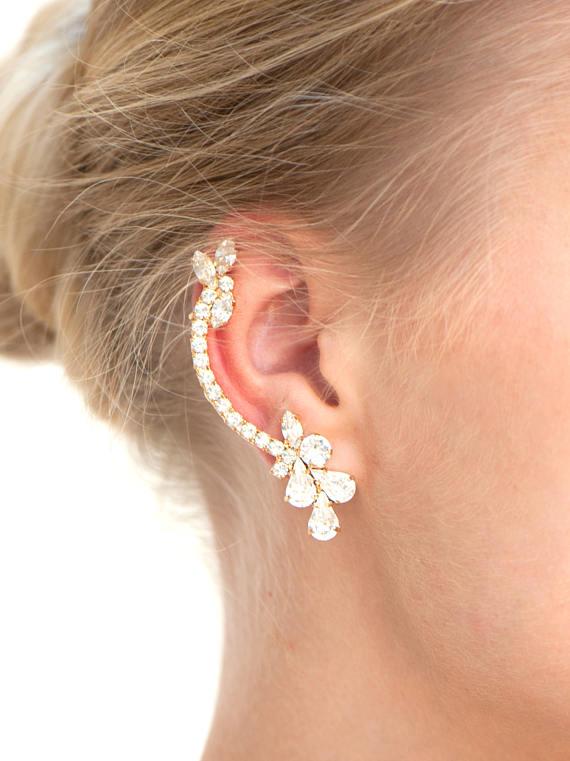 pendientes ear cuff novia